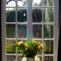 Gothic windows looking across the gardens